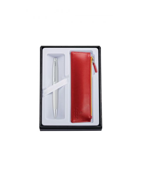 Calais écrin Stylo Bille Satin Chrome + Pochette simili cuir Rouge