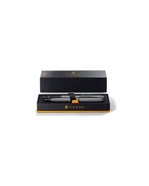 Century II Gunmetal Grey Ballpoint Pen & Fountain Pen (Medium) Gift Set