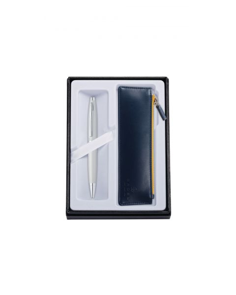 Calais Satin Chrome Ballpoint with Midnight Blue Pouch