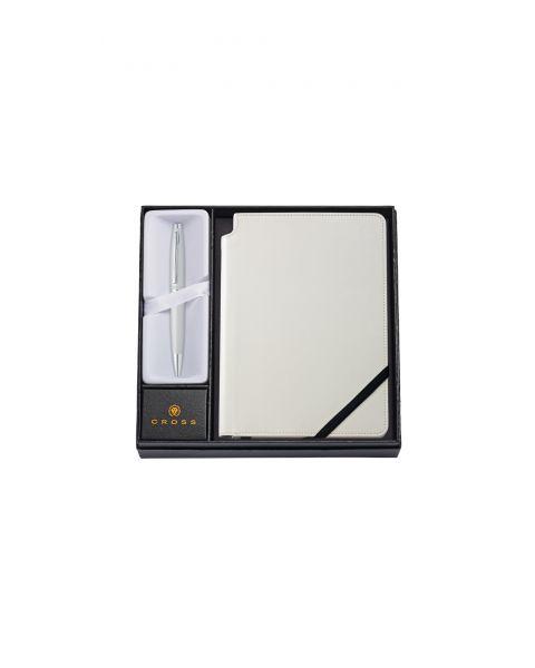 Calais Satin Chrom Kugelschreiber mit mittlerem klassischem weißem Journal