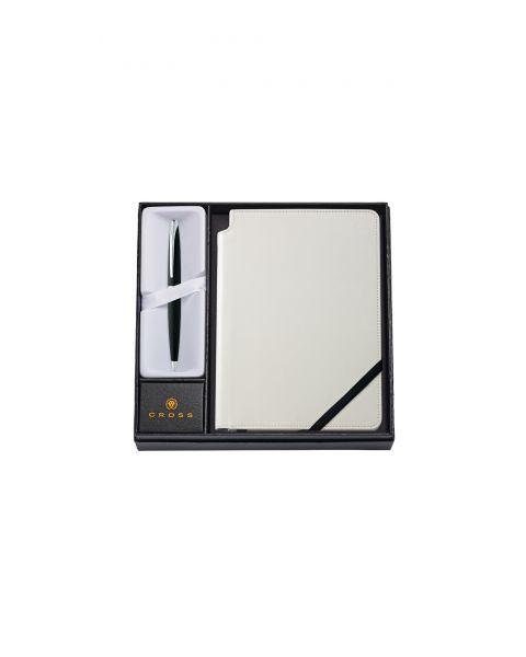 ATX Bolígrafo Negro Basalto con Diario Blanco Clásico Medio