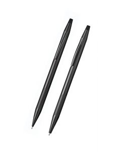 Classic Century Black Pen and Pencil Set with Micro-knurl Detail