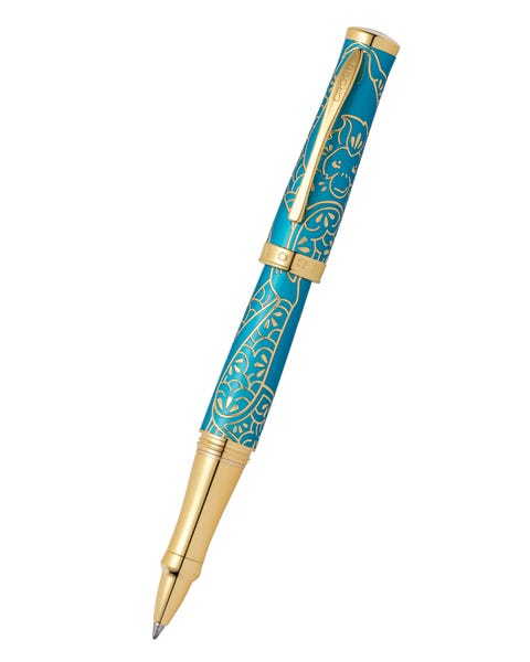 Year of the Monkey Ballpoint Pen Tibetan Teal Rolling, Gold Plated Appointments