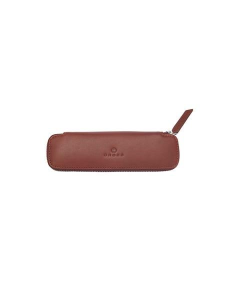 Tan Leather Double Pen Case