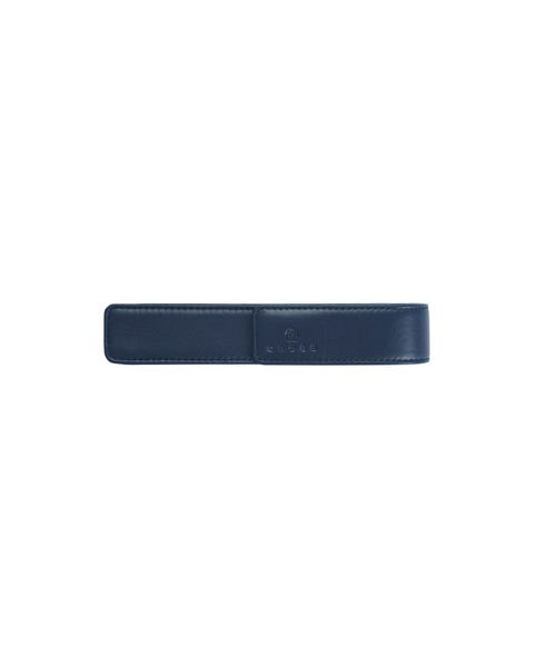 Midnight Blue Leather Single Pen Pouch