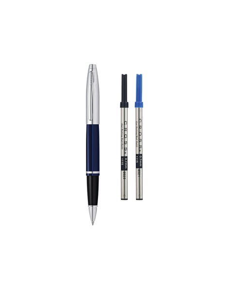 Calais Chrome/Blue Lacquer Rollerball Pen with 2 Bonus Refills
