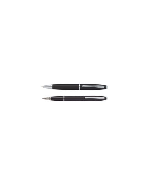 Calais Matte Black Ballpoint and Fountain Pen Gift Set