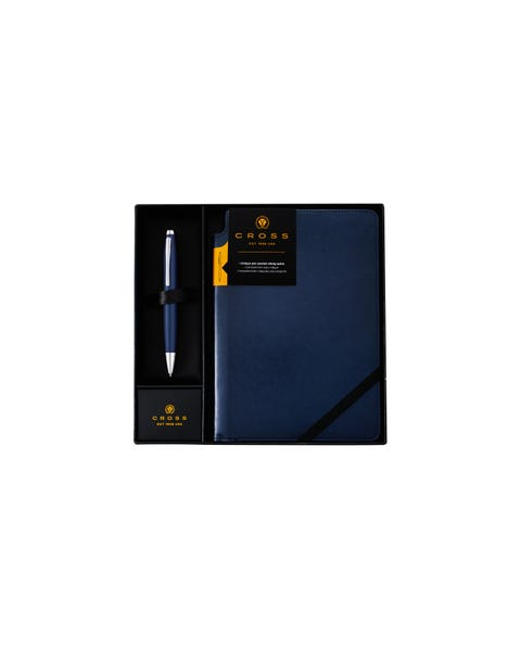 Calais Matte Metallic Midnight Blue Ballpoint Pen with Medium Midnight Blue Journal