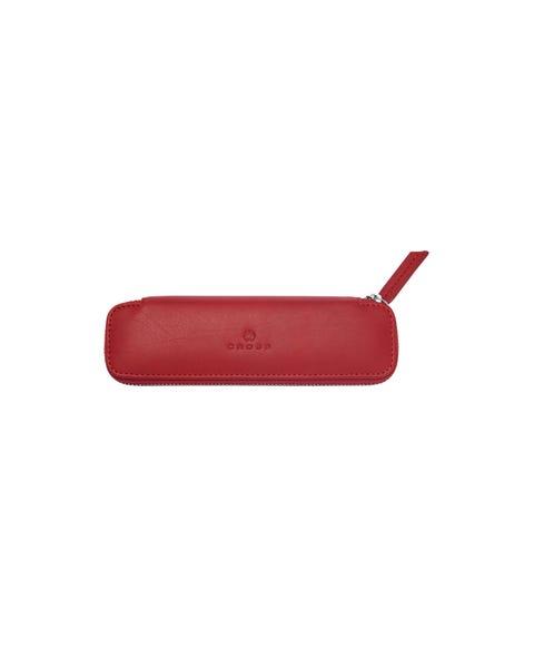 Crimson Leather Double Pen Case