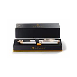 Century II Pearlescent White Lacquer Ballpoint Pen & Fountain Pen (Medium) Gift Set
