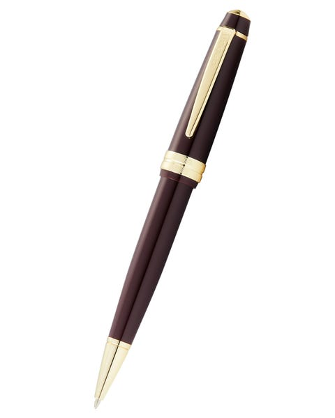 Bailey Light Polished Burgundy Resin and Gold Tone Ballpoint Pen