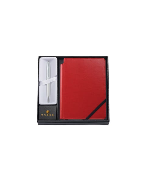 Calais écrin Stylo Bille Satin Chrome + Carnet A5 Rouge