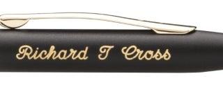 'Script' engraving example on black engraveable pen.