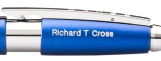 'Euro' engraving example on blue engraveable pen.